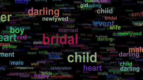 Wedding love concept words, seamless loop Animation