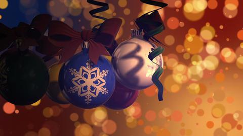 Rotating christmas balls And Bokeh Footage