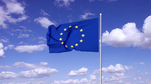 Flag of European Union on wind at sky clouds timelapse Animación