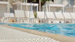 Closeup of poolside in resort Footage