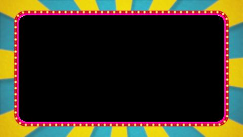 水色・黄色の放射線の枠アニメーション・赤の電飾・アルファ付き CG動画
