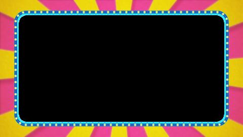 ピンク・黄色の放射線の枠アニメーション・水色の電飾・アルファ付き CG動画