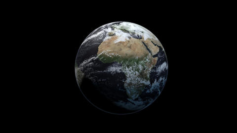 Photo realistic 3D earth. Earth from space. Rotating planet earth. Blue planet Animation