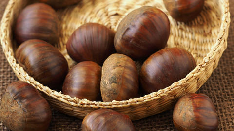 Fresh edible chestnuts in a basket Live Action