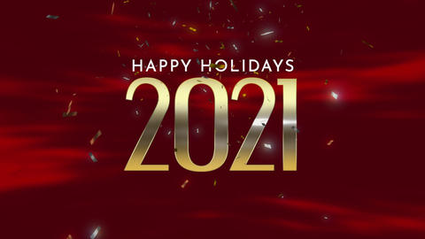 Animated closeup 2021 and Happy Holidays text with fly gold confetti and glitter on holiday Animation