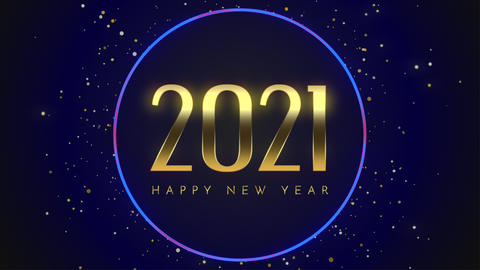 Animated closeup 2021 and Happy New Year text with fly blue snowflakes and glitter on blue holiday Animation