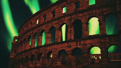 Old coliseum northern lights Rome northern lights aurora borealis northern lights coliseum Animation