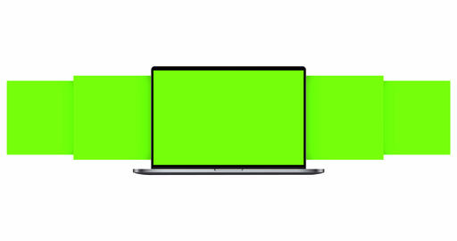 Laptop Computer With Blank Green Sliding App Screens Isolated on White Background Animation