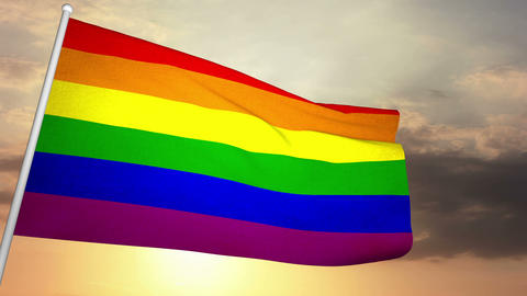Gay Flag 02 Stock Video Footage