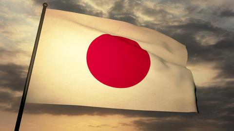 Flag Japon 05 Stock Video Footage