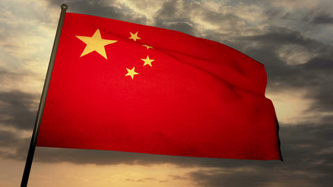 Flag china 05 Stock Video Footage