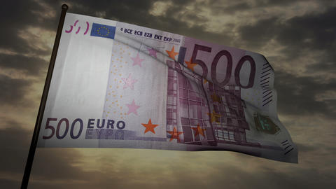 500 Euros bill flag 03 Stock Video Footage