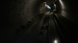Moving train in subway tunnel, cabin view Stock Video Footage