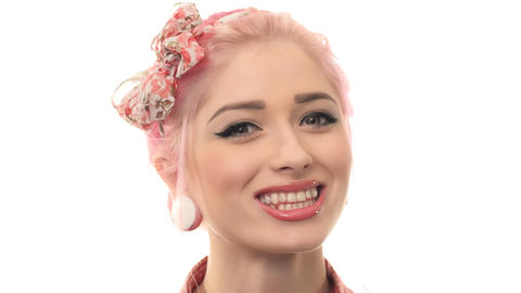 beauty woman portrait of pin-up girl beautiful clean skin... Stock Video Footage