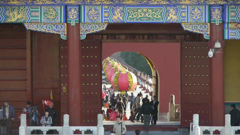 Tourists visitors at red door,Chinese red... Stock Video Footage