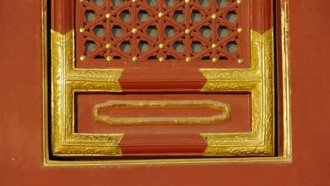 China ancient architecture plaid red windows.Painted... Stock Video Footage