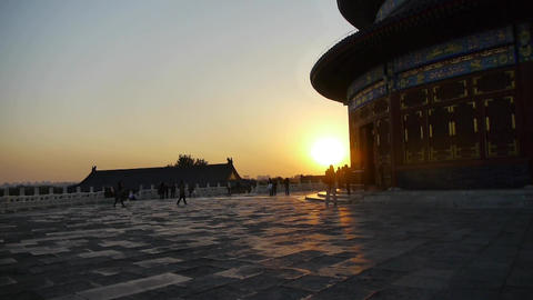 Temple of Heaven in Beijing.China slate floor ancient architecture in sunset Footage