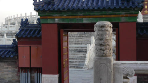 white stone jade railing at sunset.red door,China ancient... Stock Video Footage
