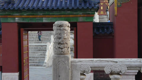 white stone jade railing at sunset.red door,China ancient architecture temple Footage