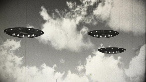 Ufo On Earth under Clouds Vintage Design 11 Animation