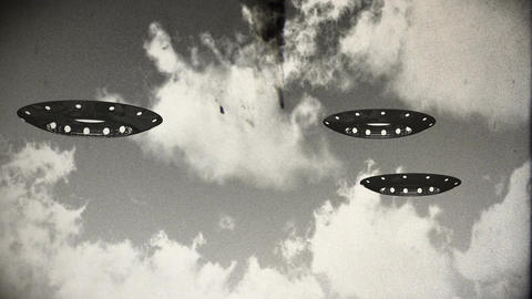Ufo On Earth under Clouds Vintage Design 11 Stock Video Footage