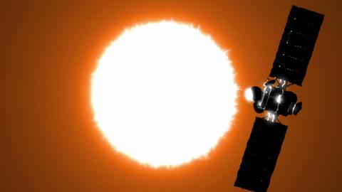 Satellite is orbiting the Sun Stock Video Footage