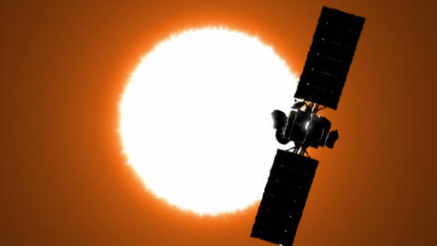 Satellite is orbiting the Sun Stock Video Footage