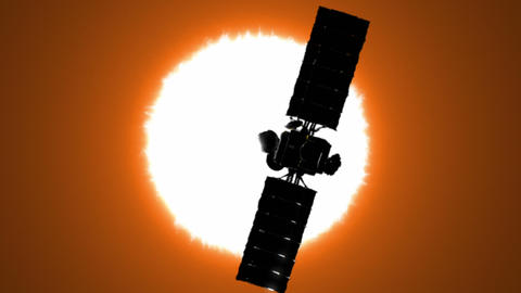 Satellite is orbiting the Sun Animation