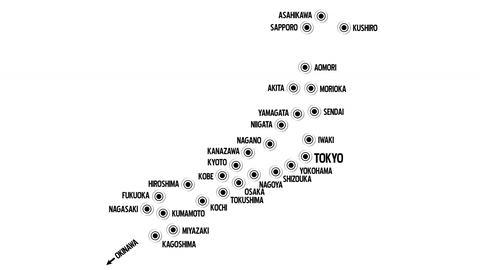 4 K Japan Cities Subway Map Design 1 Stock Video Footage