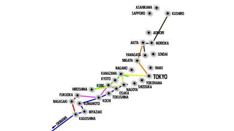 4 K Japan Cities Subway Map Design 1 Animation