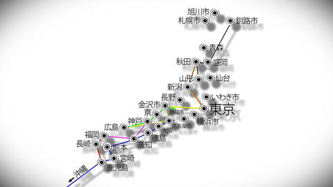 Japan Cities Subway Map Design 4 Animation