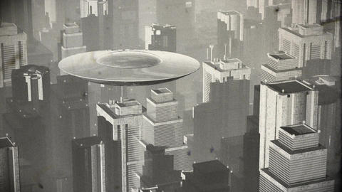 UFO in Futuristic Metropolis 2 vintage Stock Video Footage