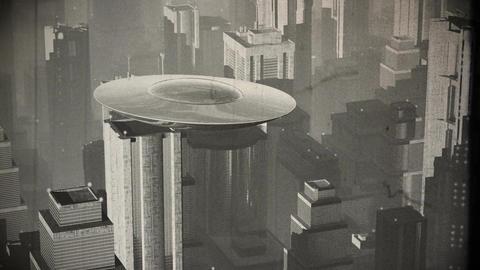 UFO in Futuristic Metropolis 2 vintage Animation