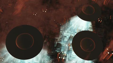 UFO Invasion Scanning in Metropolis 1 Stock Video Footage