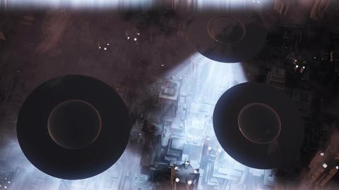 UFO Invasion Scanning in Metropolis 3 Stock Video Footage