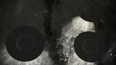 UFO Invasion Scanning in Metropolis 5 Stock Video Footage