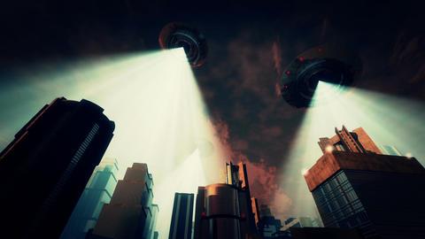 UFO Invasion Scanning in Metropolis 7 Stock Video Footage
