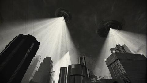 UFO Invasion Scanning in Metropolis 9 vintage Stock Video Footage