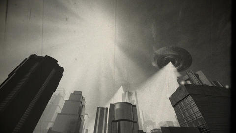 UFO Invasion Scanning in Metropolis 9 vintage Animation