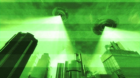 UFO Invasion Scanning in Metropolis 11 Stock Video Footage
