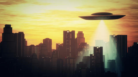 UFO Scanning over Metropolis 8 Stock Video Footage