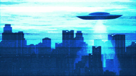 UFO Scanning over Metropolis 10 Stock Video Footage