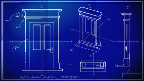Door Technical Drawing Blueprint Time Lapse Stock Video Footage