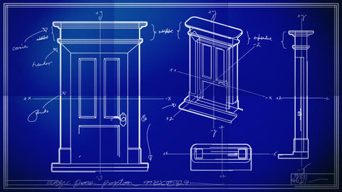 Door Technical Drawing Blueprint Time Lapse stock footage