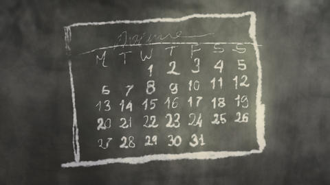 Calendar Month Page Scribbling on a Chalkboard Animation