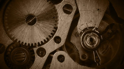 Watch mechanism close-up. Old film stylization Stock Video Footage