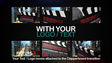 12X Camera / Clapperboard Transitions After Effects Template