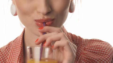 girl beautiful female lips drinking juice Stock Video Footage