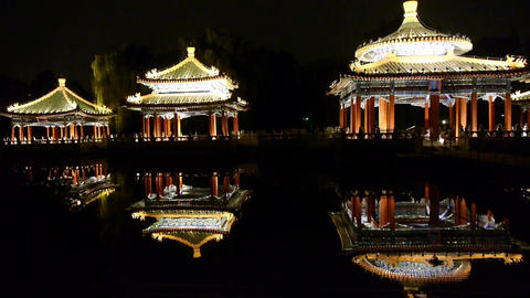 China Beijing ancient Chinese architecture pavilions... Stock Video Footage
