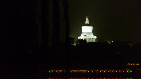 China Beijing ancient Chinese architecture White Tower at night Footage